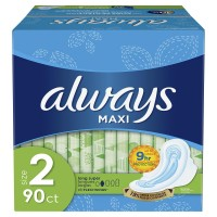 Always Maxi Long Super Pads with Wings (90 Count)