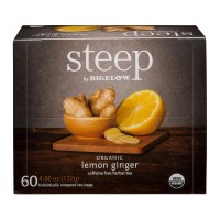 steep by Bigelow Lemon Ginger Herbal Tea Bags - 60 Count (1 Box)