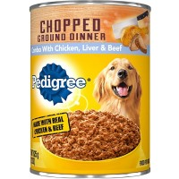 Pedigree Chopped Ground Dinner Wet Dog Food, With Chicken, Liver & Beef - 13.2 oz.