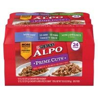 Purina Alpo Prime Cuts Beef in Gravy and Lamb and Rice in Gravy Wet Dog Food, Variety Pack - 13.2 oz. cans (Case of 24)