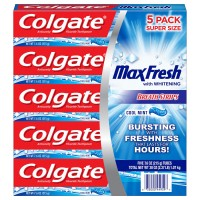 Colgate MaxFresh Toothpaste with Mini Breath Strips, Cool Mint - 7.6 oz (Pack of 5)