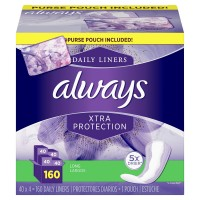 Always Xtra Protection Daily Liners, Long - with Purse Pouch (160 Count)