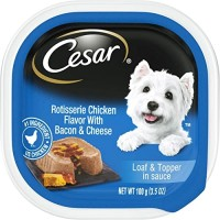 Cesar Classic Loaf in Sauce Gourmet Wet Dog Food, Rotisserie Chicken with Bacon & Cheese - 3.5 oz.