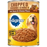 Pedigree Chopped Ground Dinner Wet Dog Food, with Beef, Bacon & Cheese - 13.2 oz.